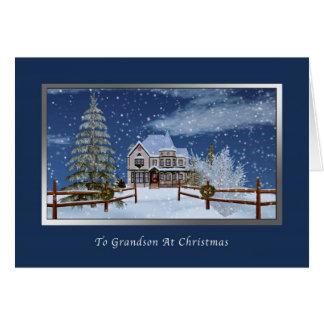 Christmas, Grandson, Snowy Winter Scene Greeting Card