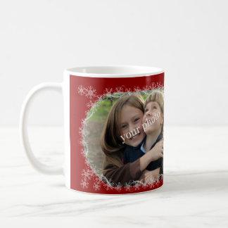 Christmas greetings on red background with snow basic white mug