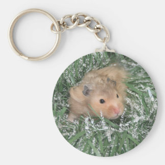 Christmas hamster basic round button key ring