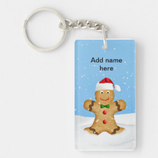 Christmas, Happy Gingerbread Man in Snow Double-Sided Rectangular Acrylic Key Ring