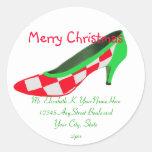 Christmas High Heel Shoe Return Address Round Sticker