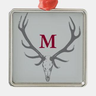 Christmas Holiday Elk Custom Monogram Silver-Colored Square Decoration
