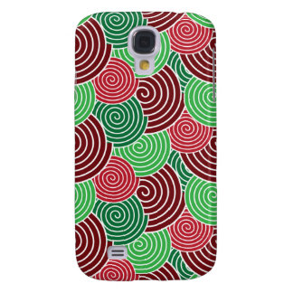 Christmas Holiday Red Green Spiral Pattern Galaxy S4 Case
