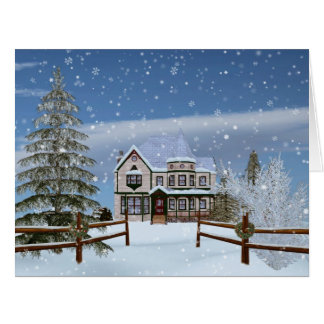 Christmas, House in Snowy Winter Scene Big Greeting Card