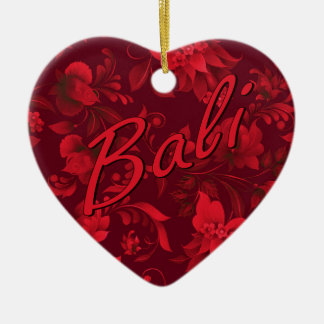 Christmas in Bali Batik Heart Ceramic Heart Decoration