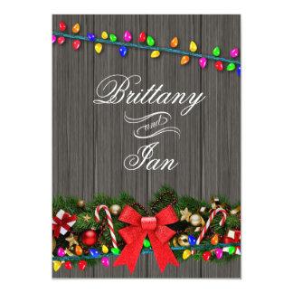 Christmas Lights Barn Wood Wedding   charcoal 13 Cm X 18 Cm Invitation Card