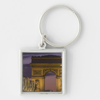 Christmas lights, Champs Elysees, Arc de Silver-Colored Square Key Ring