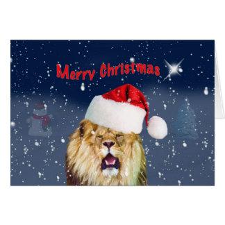 Christmas, Lion in Santa Hat, Star, Snow Greeting Card