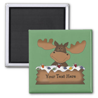 Christmas Moose (customizable) Square Magnet