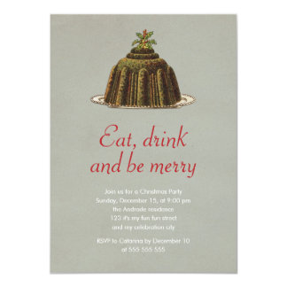 Christmas Party Eat Drink Be Merry Pudding Holiday 11 Cm X 16 Cm Invitation Card