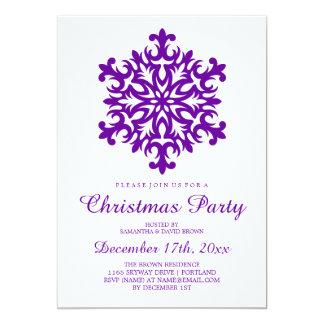 Christmas Party Snowflake Purple 13 Cm X 18 Cm Invitation Card