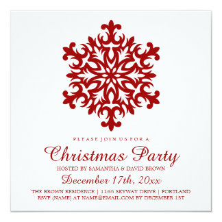 Christmas Party Snowflake Red 13 Cm X 13 Cm Square Invitation Card
