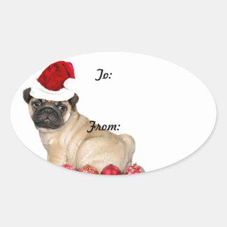 Christmas pug dog gift tag stickers