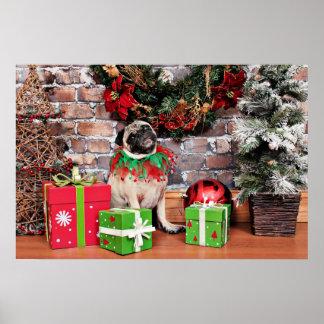 Christmas - Pug - Lily Lou Poster