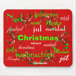 """""""Christmas Red Wreath Around The World I"""" Mousepad"""