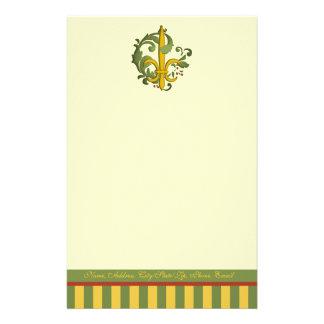 Christmas Scroll Fleur de lis Personalized Stationery