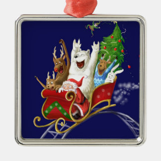 Christmas sledge funny digital drawing Santa Claus Silver-Colored Square Decoration