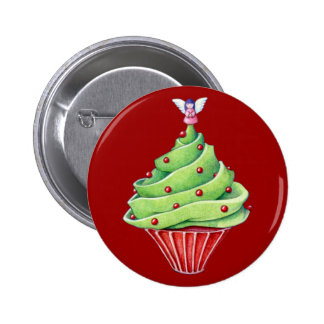 Christmas Tree Cupcake red Button