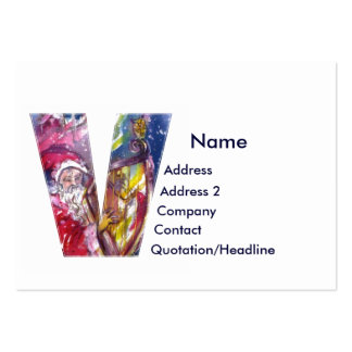 CHRISTMAS V LETTER  / SANTA  PLAYING HARP PACK OF CHUBBY BUSINESS CARDS