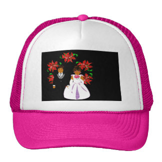Christmas Wedding Couple In Pink Round Wreath Cap