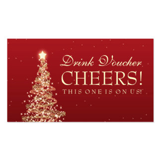 Christmas Wedding Drink Voucher Red Gold Pack Of Standard Business Cards