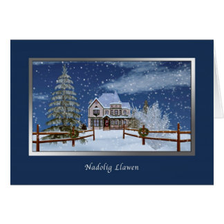 Christmas, Welsh Language,  Nadolig Llawen Greeting Card