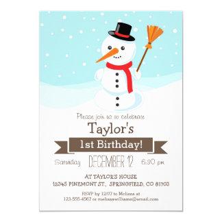 Christmas Winter Snowman, Kid's Birthday Party 13 Cm X 18 Cm Invitation Card