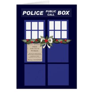 Christmas Wreath On A Police Box Greeting Card