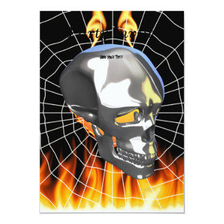 Chrome human skull design 1 with fire and web 13 cm x 18 cm invitation card