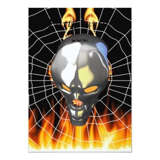 Chrome human skull design 2 with fire and web 13 cm x 18 cm invitation card