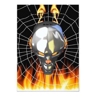 Chrome human skull design 3 with fire and web 13 cm x 18 cm invitation card