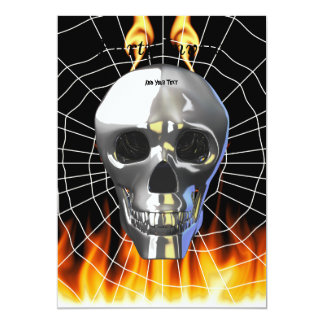 Chrome human skull design 4 with fire and web. 13 cm x 18 cm invitation card