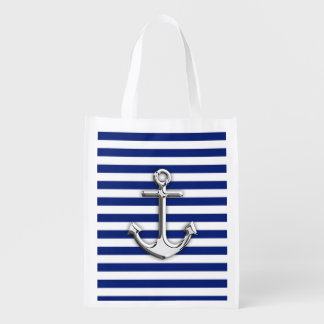 Chrome Like Anchor on Navy Blue Stripes decor