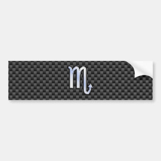 Chrome Like Scorpio Zodiac Sign Carbon Fiber Print Bumper Sticker