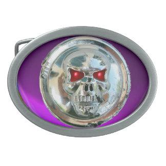 CHROME SKULL / Purple Amethyst Belt Buckle