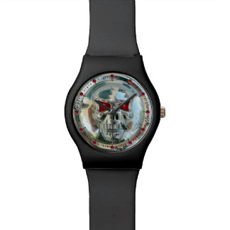 CHROME SKULL WITH RED RUBY GEMSTONES WATCH