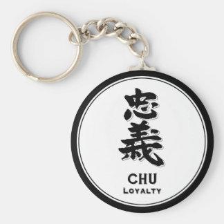 CHU Loyalty bushido virtue samurai kanji Basic Round Button Key Ring