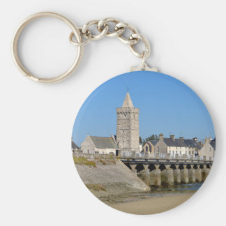 Church and bridge of Port-Bail in France Basic Round Button Key Ring