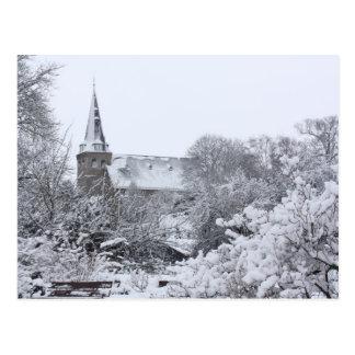 church in snow postcard