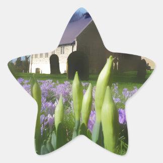 Church with artistic blur star sticker