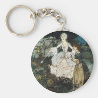 Cinderella and Fairy Godmother Basic Round Button Key Ring