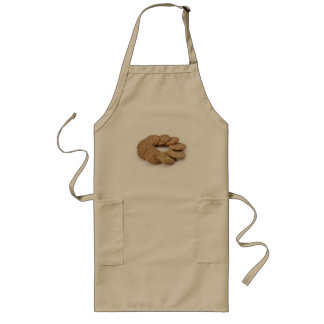 Circle of cookies on a white background long apron