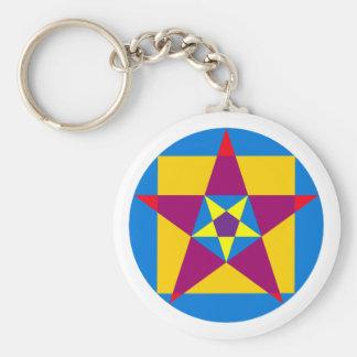 Circle square pentagon circle square pentacle basic round button key ring