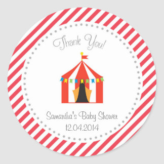 Circus Tent Baby Shower Thank You Sticker Red