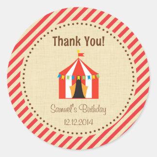 Circus Tent Birthday Sticker Red Stripes