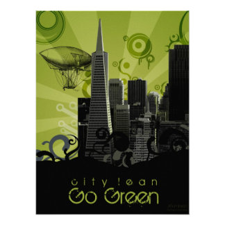City Lean Go Green Poster
