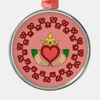 Claddagh and Red Knotwork on Pink Premium Ornament