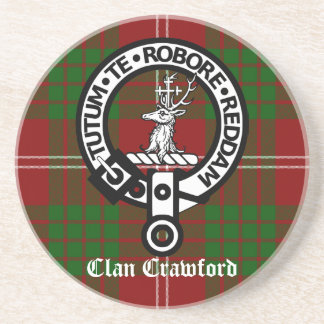 Clan Crawford Crest Tartan Beverage Coaster