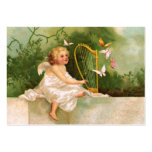 Clapsaddle: Angel Playing Harp Pack Of Chubby Business Cards