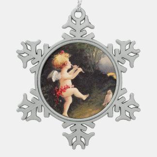 Clapsaddle: Little Cherub with Flute Pewter Snowflake Decoration